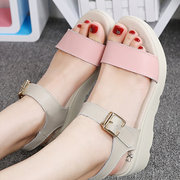 Leather Soft Color Match Comfortable Buckle Peep Toe Flat Beach Sandals