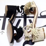 Tassel Vintage Retro Chic Lace Up Peep Toe Square Heel Sandals