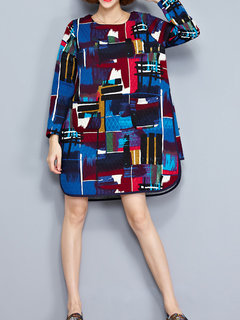 Casual Watercolor Printed Long Sleeve Pocket Mini Dress For Women