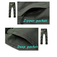 Mens Outdoor Soft Shell Fleece Lined Water-repellent Quick-Dry Breathable Climbing Sport Pants