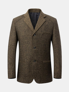 Spring Fall Casual Business Wool Blend Jacket Coat For Men