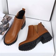 Pure Color Square Heel Ankle Slip On Zipper Casual Boots