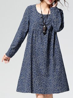 Casual Floral Printed O-Neck Long Sleeve A-line Dress For Women