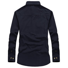 Casual Solid Color Cotton Cargo Dress Shirt Long Sleeve Plus Size Shirt For Men