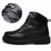 Big Size Men Winter Warm Ankle Lace Up Leather Button Boots