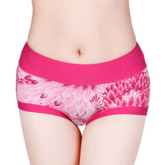 Comfy Soft Mid Waist Panties Floral Printing Breathable Cotton Underwear For Women