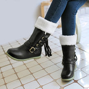 Big Size Buckle Folded Lace Decoration Slip On Mid Calf Boots