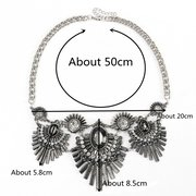 Vintage Antique Silver Feathers Crystal Necklace