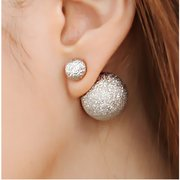 Matte Wrinkle Double Sides Round Ball Stud Earrings
