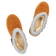 Knitting Buckle Mix Slip On Casual Ankle Cotton Boots For Women