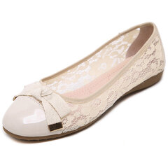 Lace Butterflyknot Metal Slip On Folded Egg Roll Breathable Flat Shoes