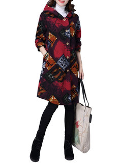 Vintage Printed Long Sleeve Hooded Button Long Coat For Women