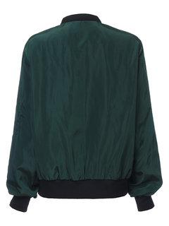 Женщины Стенд воротник молния карман с длинным рукавом Спортивные куртки