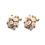 Crystal Ceramic Flower Stud Earrings