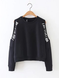 Women Casual Off-shoulder Letter Print O-neck Hoodie
