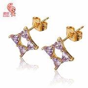 18K Gold Plated Rhombus Stud Earrings