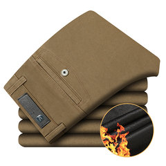 Mens Winter Thick Warm Pants Polar Fleece Lined Soild Color Straight Leg Casual Business Trouser