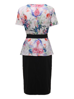 Elegant Women Floral Printed Two Piece Pencil Dress With Belt