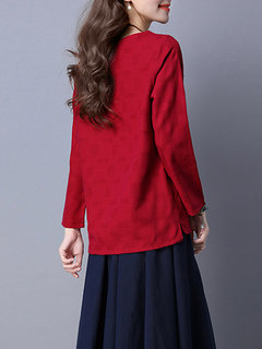 Women Casual Long Sleeve Pure Color V Neck T-shirt