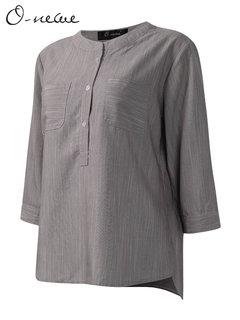 O-NEWE Loose Women Stand Collar 3/4 Sleeve Plaid Cotton Shirt