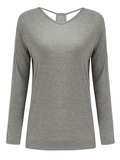 Women Long Sleeve V Neck Backless Pure Color Loose T-shirt