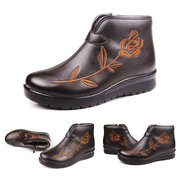 Big Size Flower Embroidery Waterproof Zipper Ankle Retro Warm Boots