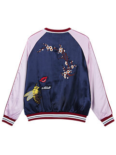 Women Fashion Casual Embroidered Contrast Color Long Sleeve Baseball Jacket Coat