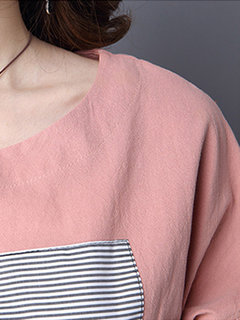 Casual Color Block Patchwork Long Sleeve Tops For Women