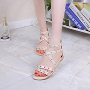Rivet Strappy Button Candy Color Sweet Peep Toe Zipper Flat Sandals