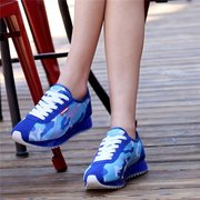 Camouflage Color Match Lace Up Light Breathable Flat Sport Casual Shoes