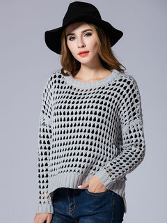 Autumn Casual Loose Women Hollow Out Pure Color Knitted Pullover Sweater