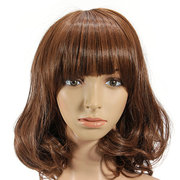 Lady Charming High Temperature Curly Hair Middle-long Neat Bang Full Wavy Wigs