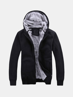 Men's Fall Winter Coat Solid Color Villus Lining Thickened Warm Hooded Casual Jackets