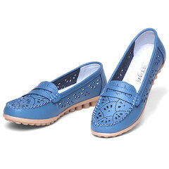 Leather Hollow Out Breathable Soft Sole Pure Color Slip On Flat Shoes