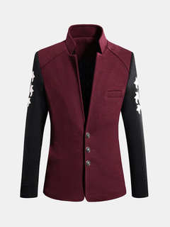 Vintage Inside-Pocket Casual Mixed Colors Slim Fit Cotton Stand Collar Woolen Coat For Men