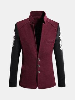 Урожай Внутри-карманные вскользь смешанных цветов Slim Fit Хлопок воротник стойка шерстяное пальто для мужчин