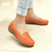 Spring Leather Comfortable Wedge Heel Soft Causal Shoes