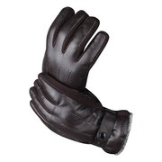 Artificial Leather Male Windproof Outdoor Sports Driving Gloves Thick Knitted Buckle Mittens