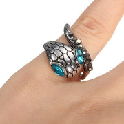 Punk Alloy Crystal Snake Shaped Ring