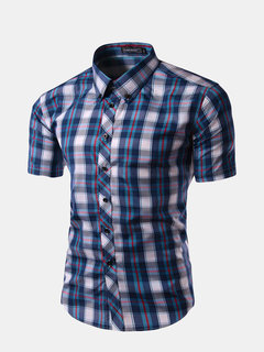 Mens Summer Classic Plaid Turn down Collar Short Sleeved Casual Shirts