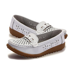 Metal leather Butterflyknot Hollow Out Flat Soft Comfortable Shoes