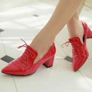 Big Size Pointed Toe Pu Pure Color Office Work Lace Up Square Heel Shoes