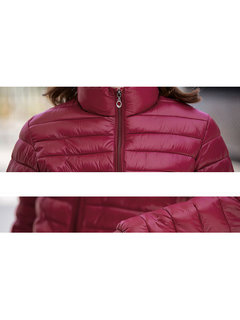 Women Casual Solid Color Long Sleeve Down Jacket