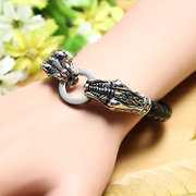 Double Dragon Tiger Skull 316L Stainless Steel Leather Bracelet