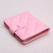 Women Elegant Plaid Casual PU Leather Wallet Card Holder Purse