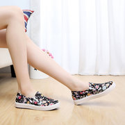 Canvas Flower Print Sweet Slip On Casual Sport Flat Shoes