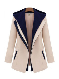 Plus Size False Two Hooded Patchwork Small Thickening Coat
