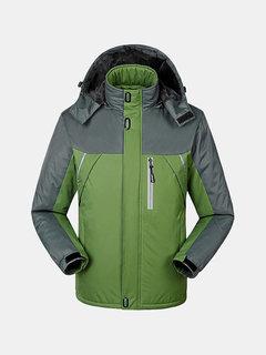 Mens Winter Detachable Hooded Jacket Windproof Water-repellent Warm Fleece Lined Coat