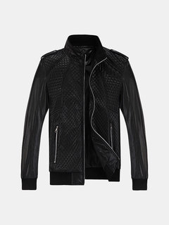 Korean Style Stylish Casual Epaulet PU Leather Stand Collar Solid Color Plaid Jacket For Men