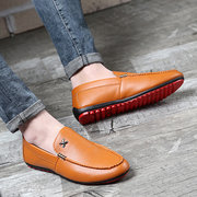 Men British Style Metal Pure Color Slip On Flat Business Shoes